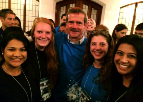 Melissa, Dominique, Sarah, and Bianca pose with Professor Chris Hadfield at the IMPACT! Youth Conference for Sustainability Leadership.