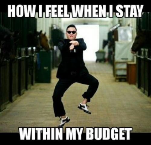 excited to stay in budget meme.