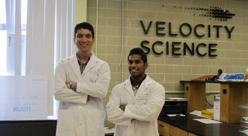 Morteza and Andrew work in their lab in Velocity Science.