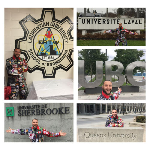 A collage of different Abdullah visiting Laurentian University, UBC, and Queen's University, the University of Sherbrooke, and Universite Laval.