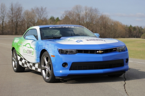 The Chebrolet Camaro donated for EcoCar3.