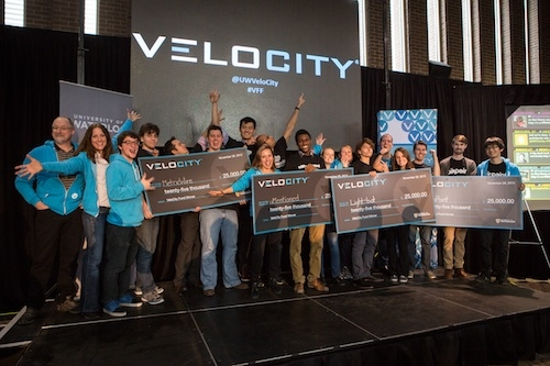 The winning VeloCity Venture Fund teams posing with their $25,000 cheques.