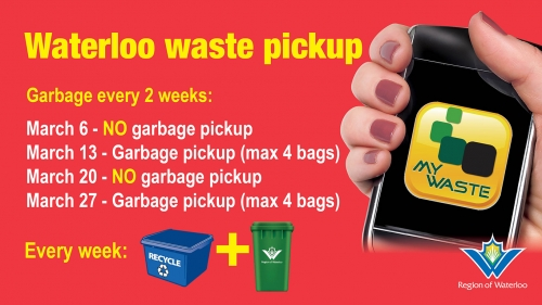 Waterloo region waste pick up. Garbage will be collected once every two weeks.