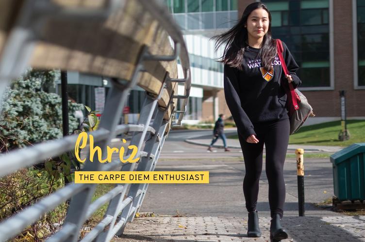 Chriz walking around Waterloo's campus.