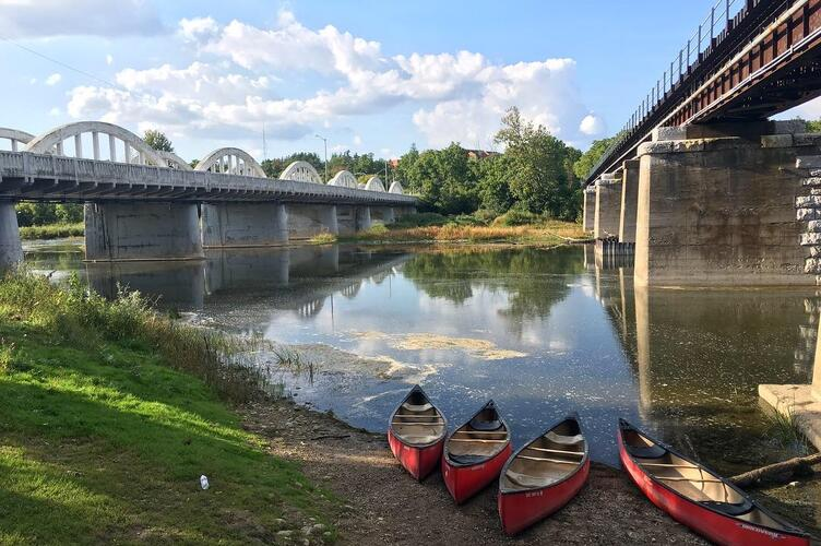 Canoeing the Grand River.