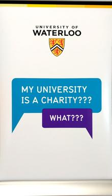 "Giving Tuesday poster, saying ""My university is a charity?"" and ""What?"""
