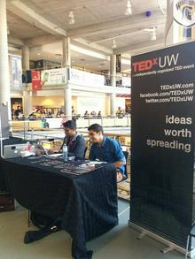 Sanchit and another student boothing in the Student Life Center for the TedxUW event