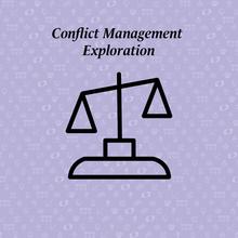 conflict management exploration written above a scale