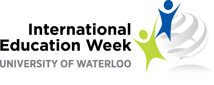 International Education Week logo with two stylized stick figures and a globe