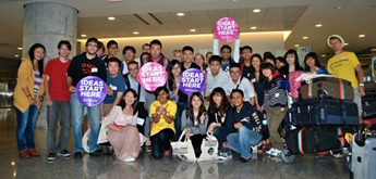 International students at the airport.