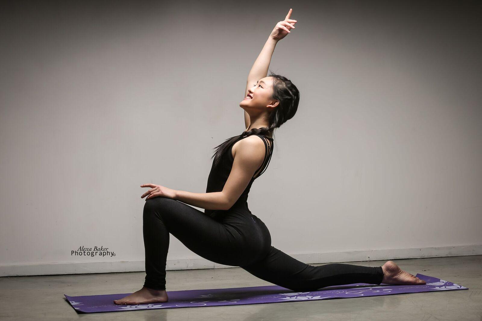 Cindy Wei doing yoga