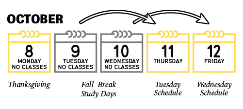 No classes on October 8-10. October 11 classes follow a Tuesday schedule. October 12 classes follow a Wednesday schedule.