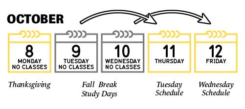 No classes on October 8-10. October 11 classes follow a Tuesday schedule. October 12 classes follow a Wednesday schedule.