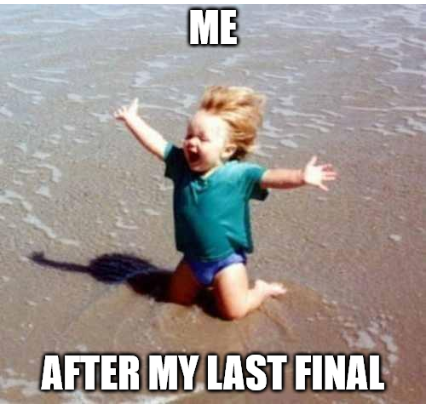 """A happy toddler in the sand with the words """"Me after my last exam"""" super imposed"""