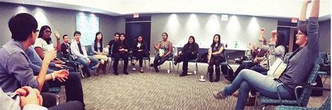 Students gathered for a UW Toastmasters meeting.