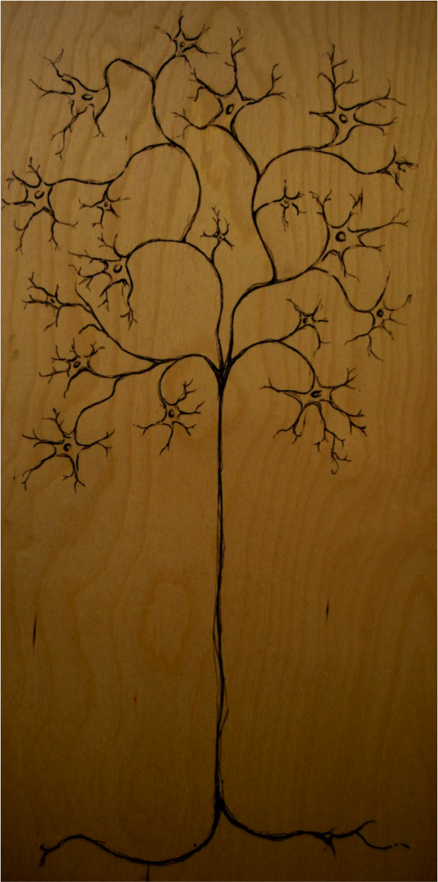 Kimmi's birch wood ink art piece