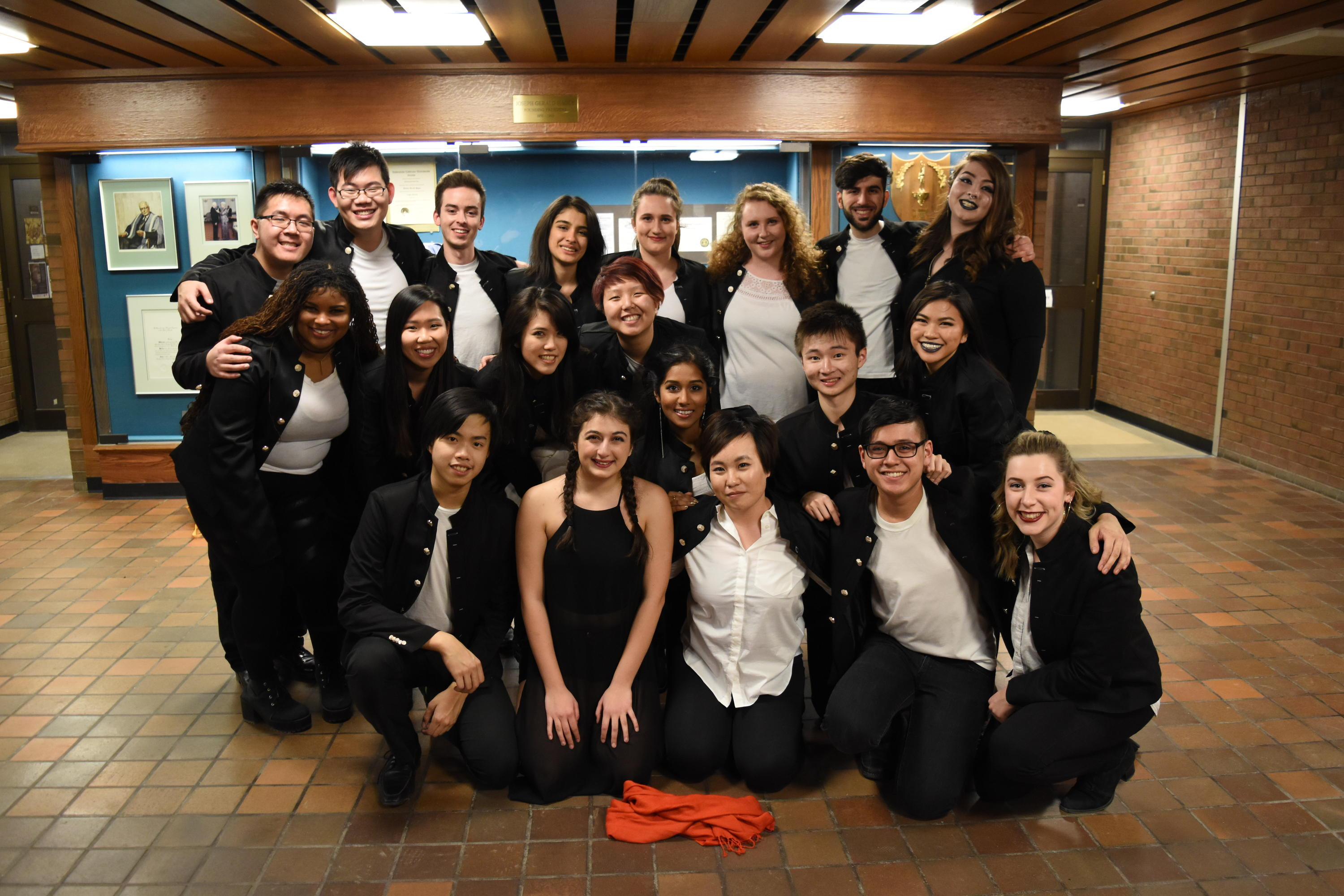 The In Full Colour acapella team pose for a photograph in Hagey Hall