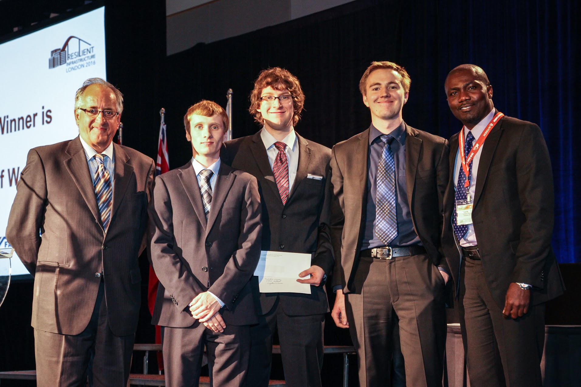 (left to right): Prof. Denis Beaulieu), James St Onge, Graeme Milligan, Stephen Phillips, and Prof. Charles Dar
