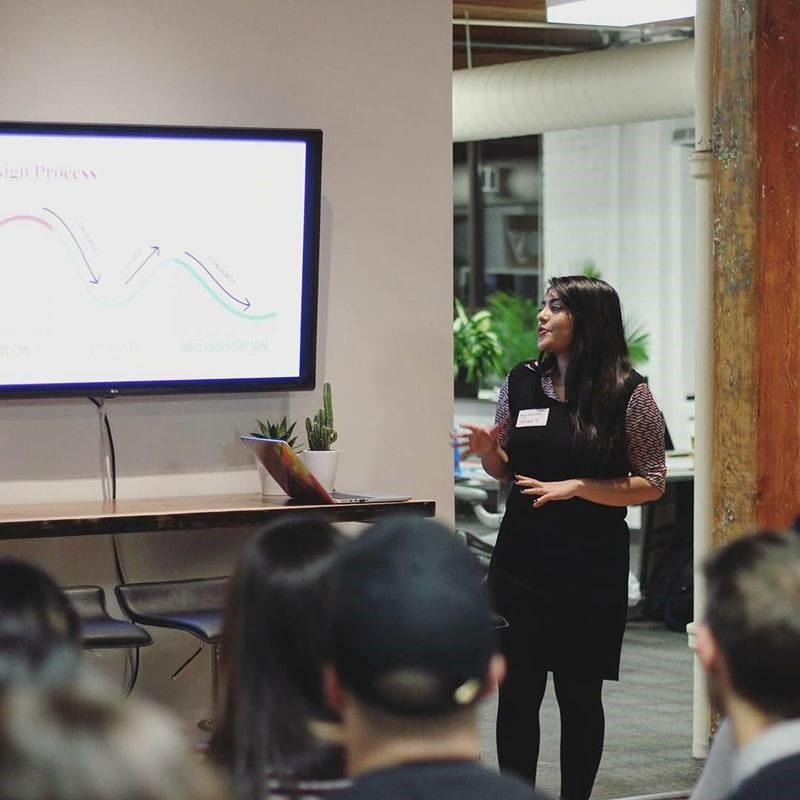 Selena presenting her design and development tech talk