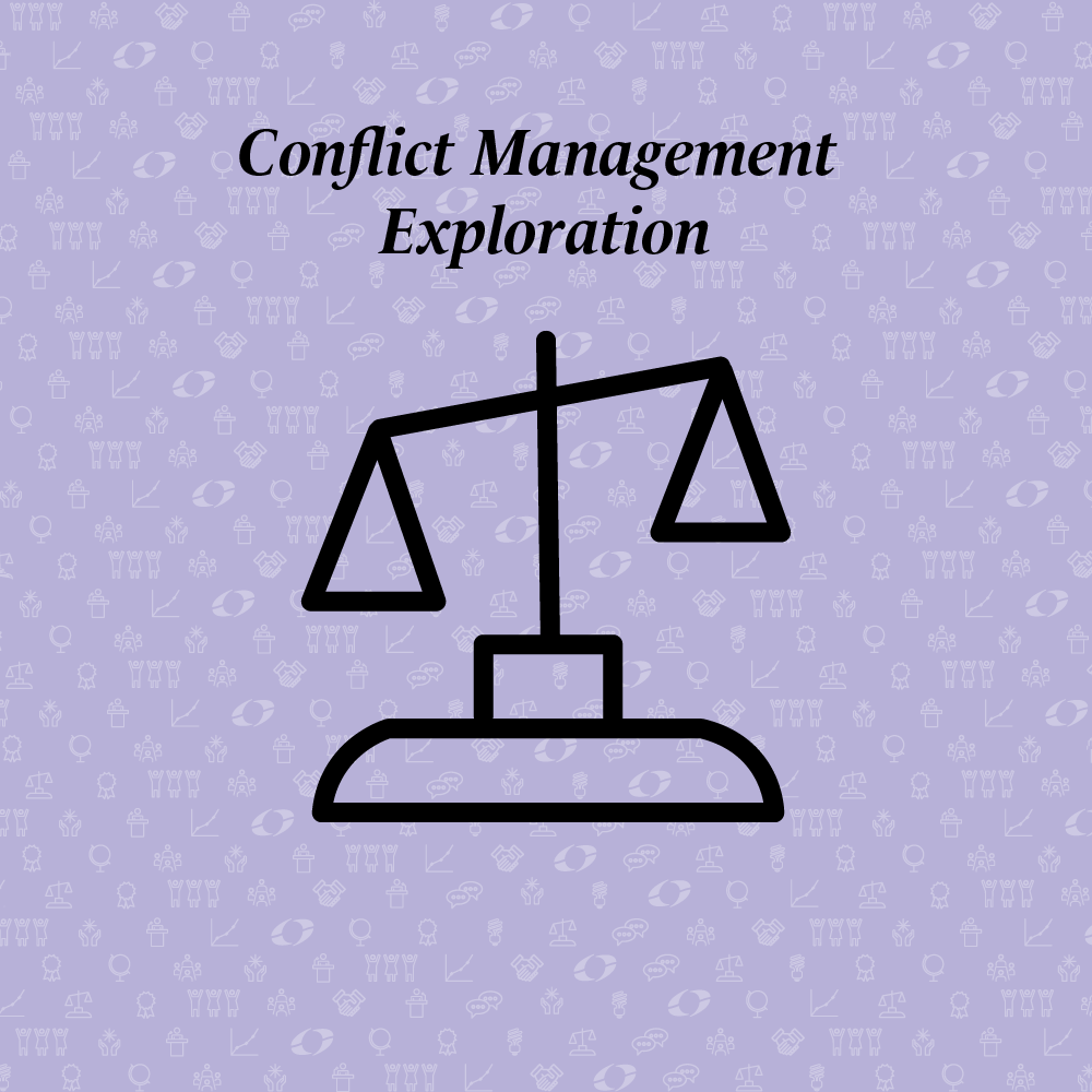 conflict management exploration written above a scale