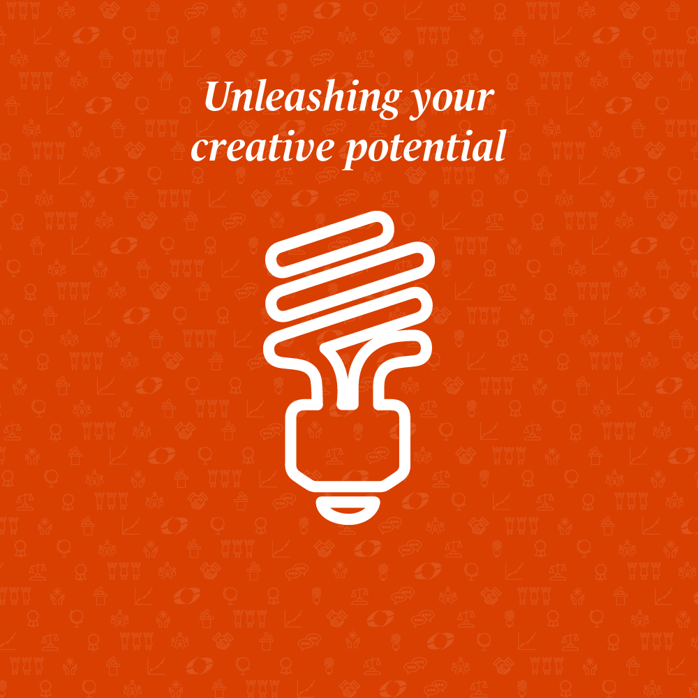 unleashing your creative potential written above a light bulb