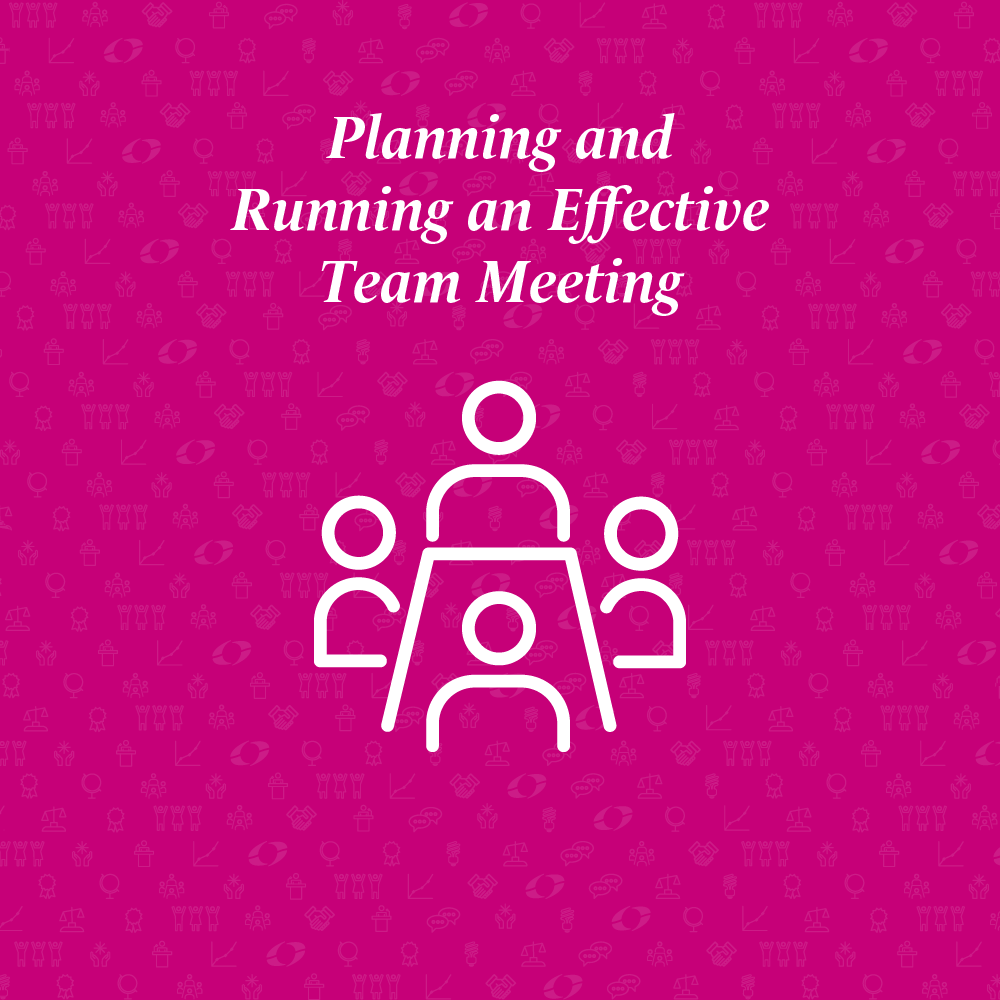 planning and running an effective team meeting written above a table with ffour people around it