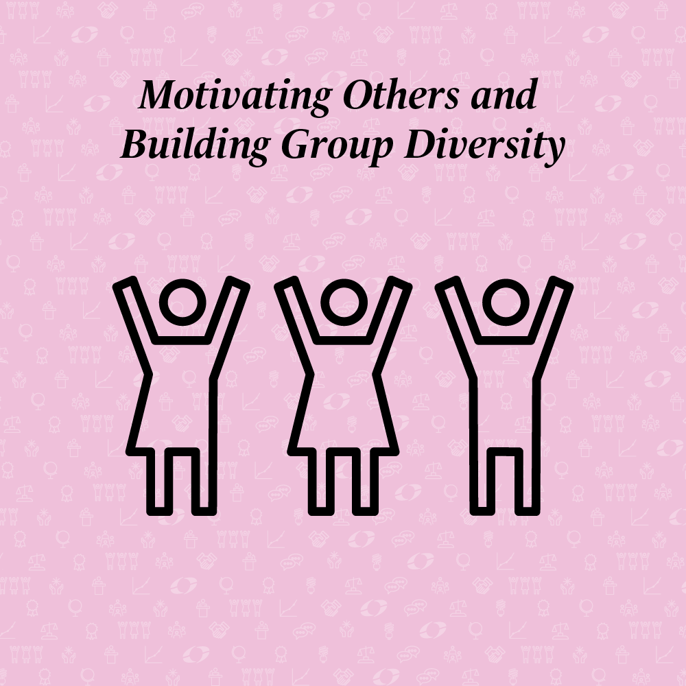 motivating others and building group diversity written above three people