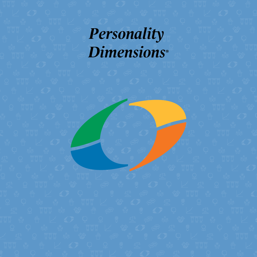 personality dimensions written above an oval divided into four sections