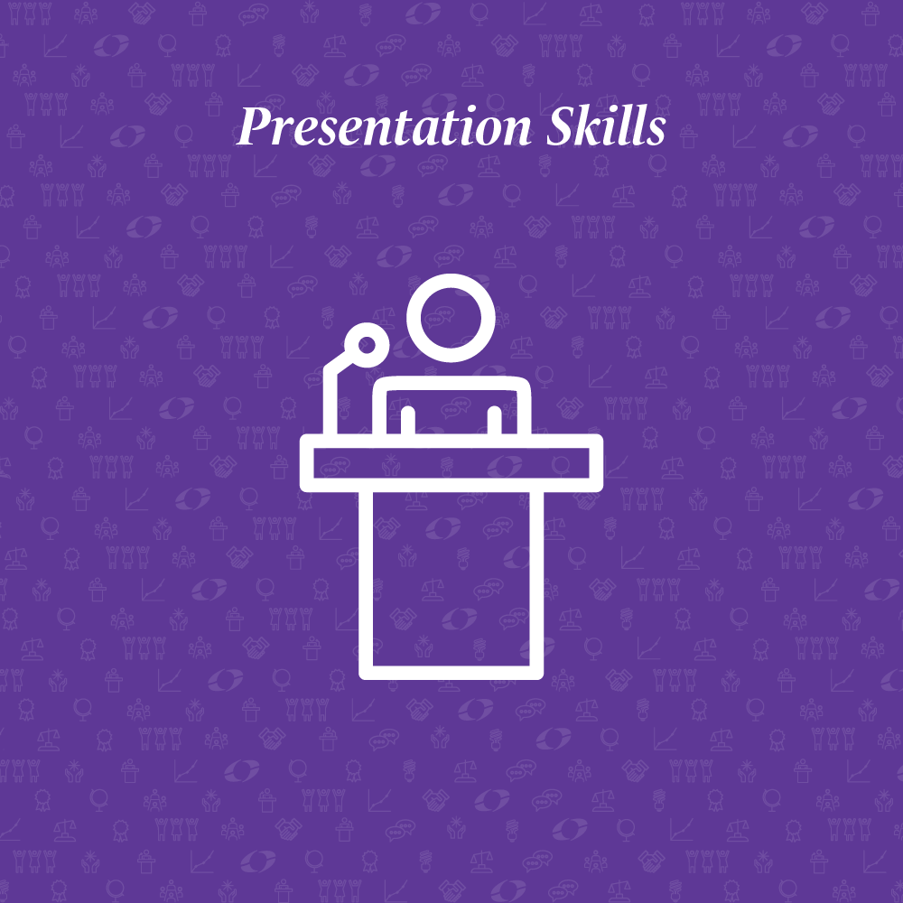 presentation skills written above an outline of a person presenting at a podium