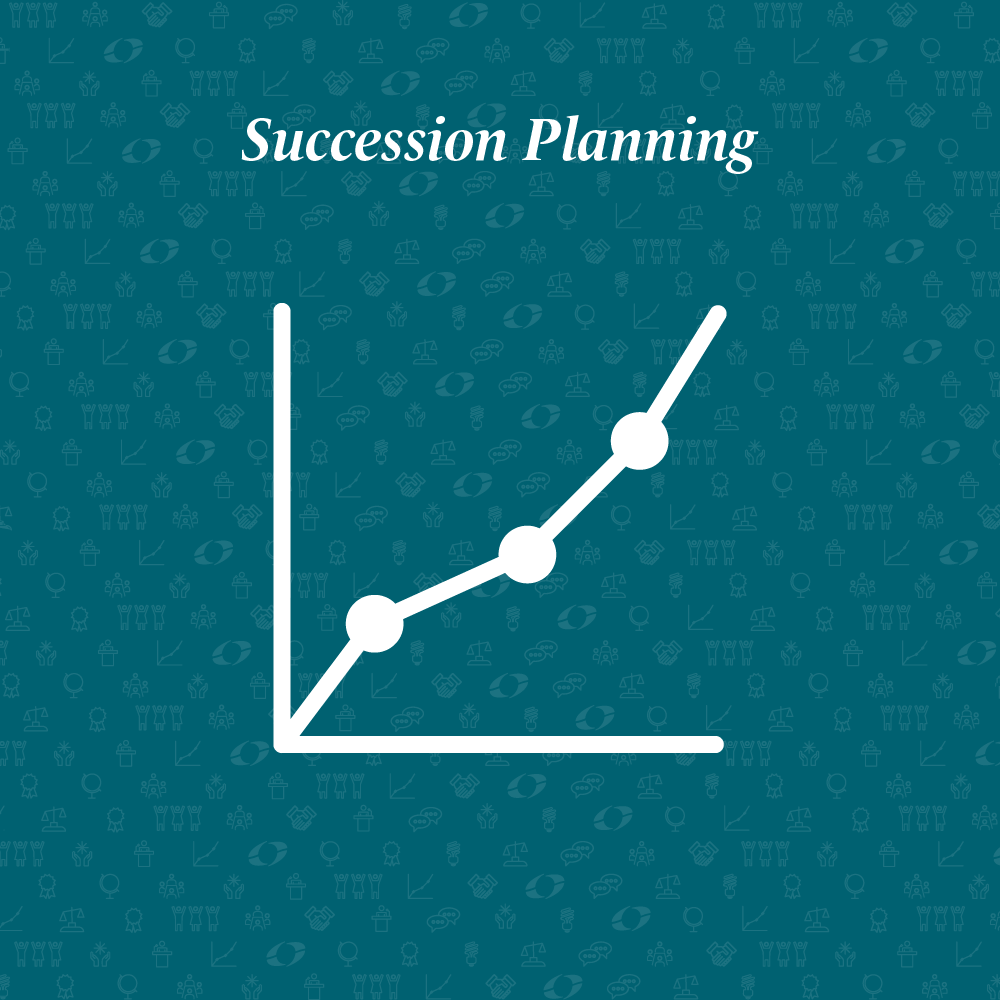 succession planning written above a line graph
