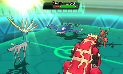 Pair of Pokémon battle against other Pokémon pair