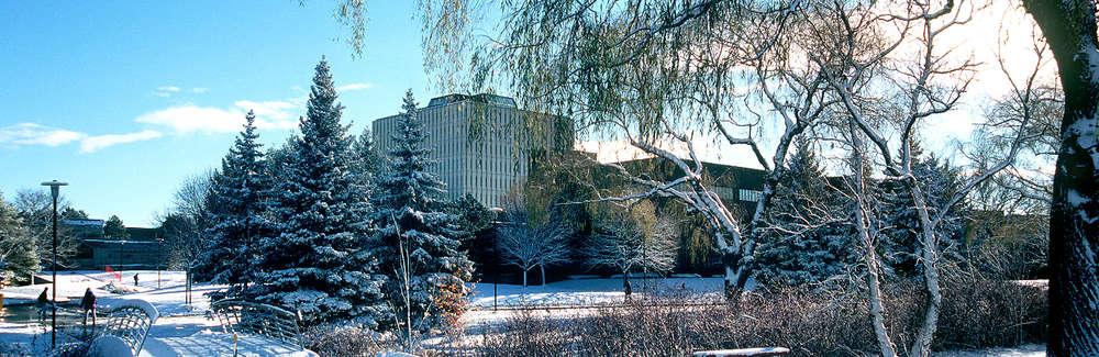 University of Waterloo winter scene with snow.