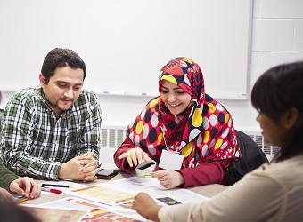 Students participate in a workshop.
