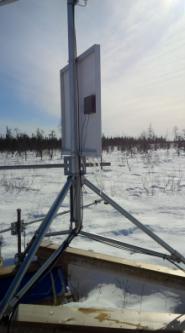 Instrumentation setup on snow covered ground