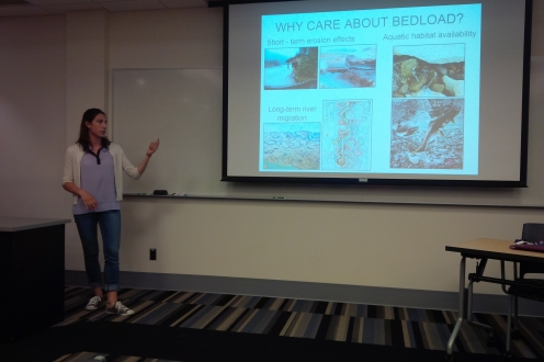 Elli Papangelakis giving her presentation about river bedload at the June lunchtime talks