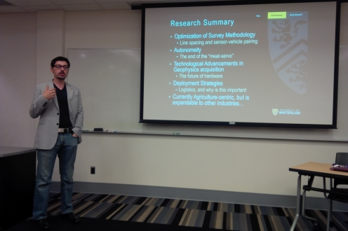 Max Salman of the Graduate Student Association during his presentation at the June lunchtime talks