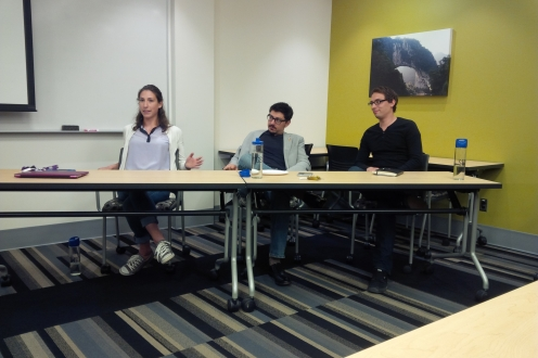 Three panelists at the June lunchtime talks