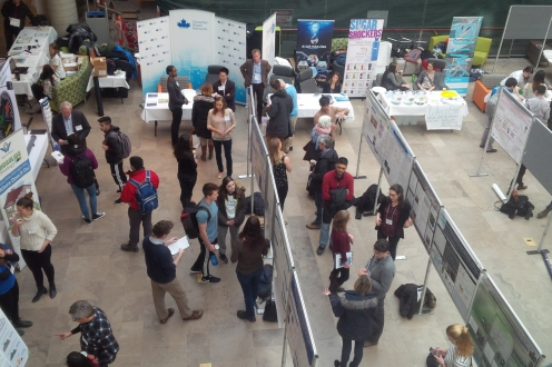 Balcony aerial photo of poster presentations and booths at World Water Day