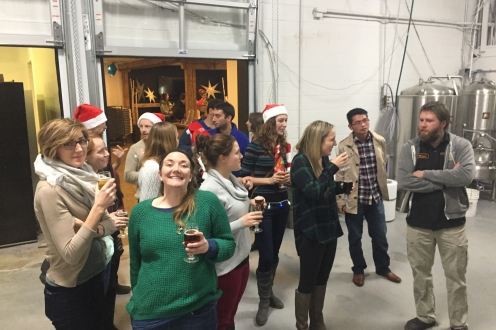 Photograph from a brewery tour during our Holiday Party at Wellington Brewery