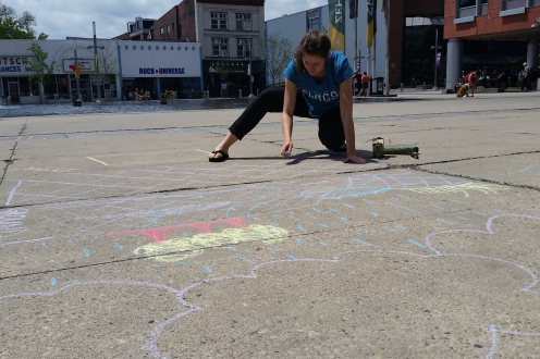 street chalk in Kitchenere World Environment Day
