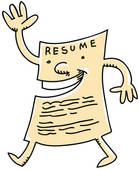 Clip art of a walking piece of paper, waving to viewer, with resume written across the top