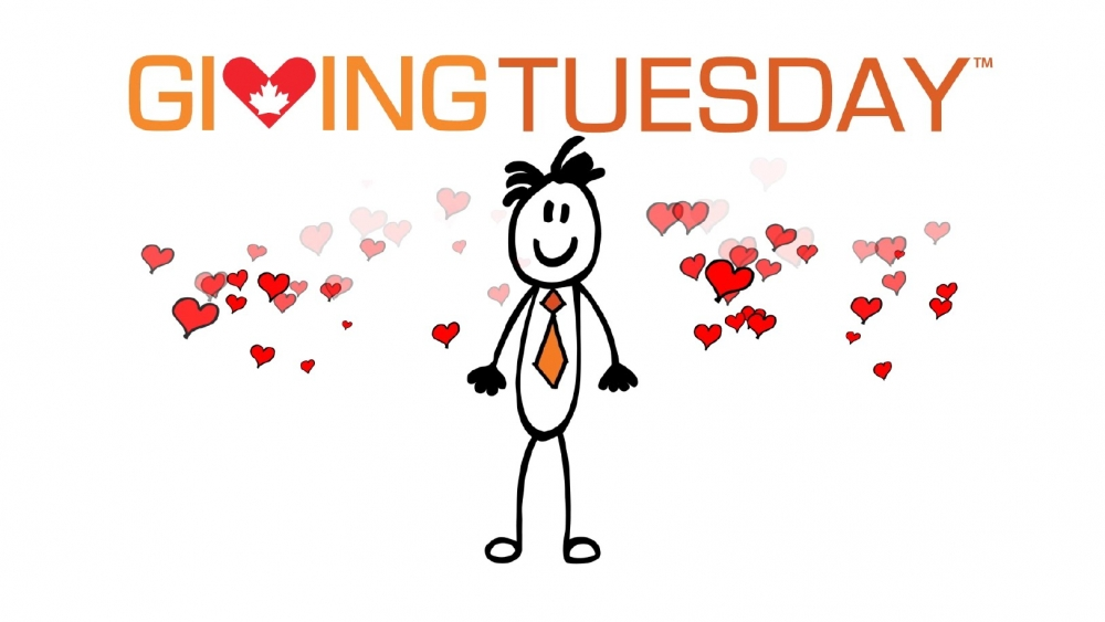 Giving Tuesday logo with a stick man and hearts all around him