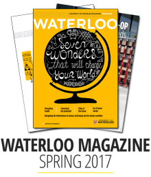 front cover of Waterloo magazine Spring 2017 issue