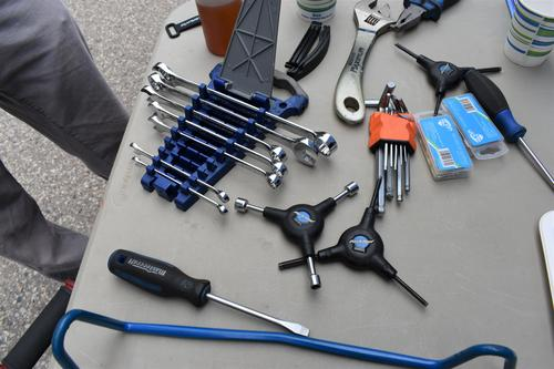 Bike repair tools resting on table