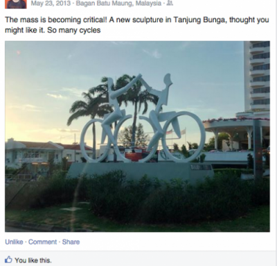 Twitter post of cycling statue in Malaysia