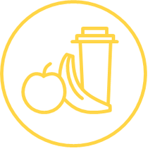 Food icon with apple, banana and coffee cup