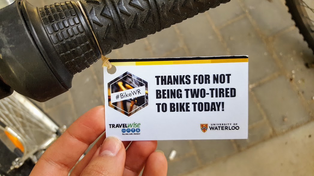 "Bike tag that says ""thanks for not being two-tired to bike today!"""
