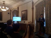 Jeff Jiang presenting at the Houses of Parliament