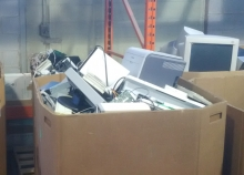 Bins filled with electronic waste