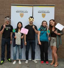 Five students with photobooth props at Bike Lunch 2018